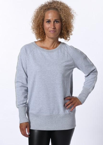 Lässiges Sweatshirt in grey-melange mit Lurex-Kontraststreifen