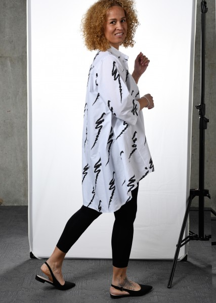 Ultra oversized Blusenhemd - weiß