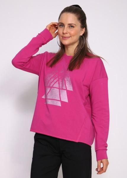 Sweatshirt pink mit tonigem Glitterprint