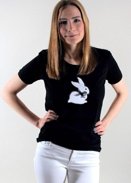 T-Shirt mit Hasenmotiv und Strass - schwarz