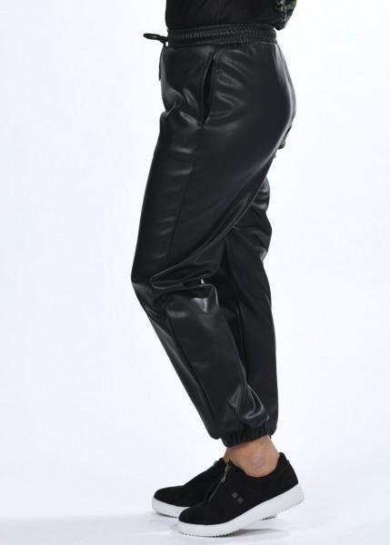 Hose in Lederoptik - schwarz