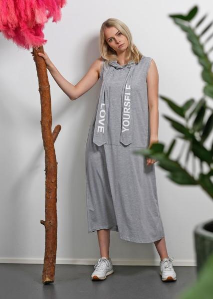 langes Kleid mit Kapuze in greymelange