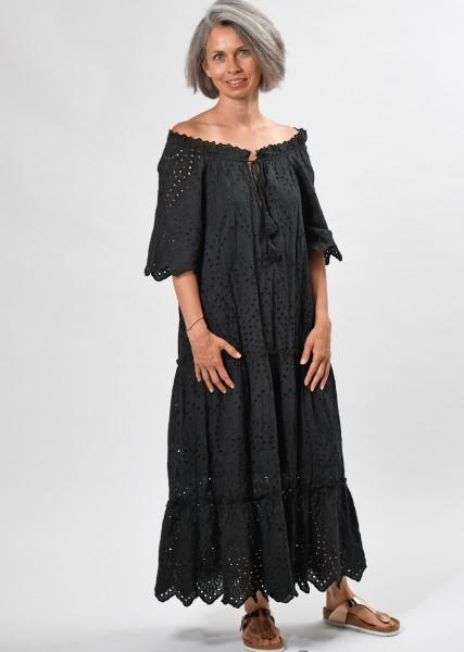 langes Kleid aus Lochspitze mit Carmenausschnitt - black