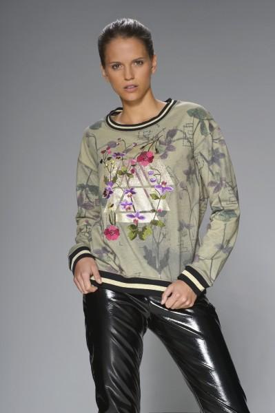 Sweatshirt Glanzprint und Stickerei