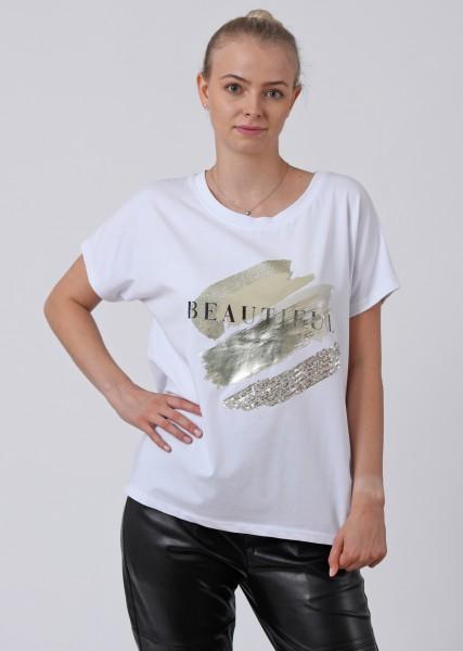 Geschmücktes T-Shirt mit Glanzprint