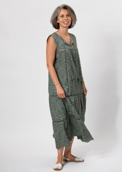 langes Kleid aus Lochspitze - khaki