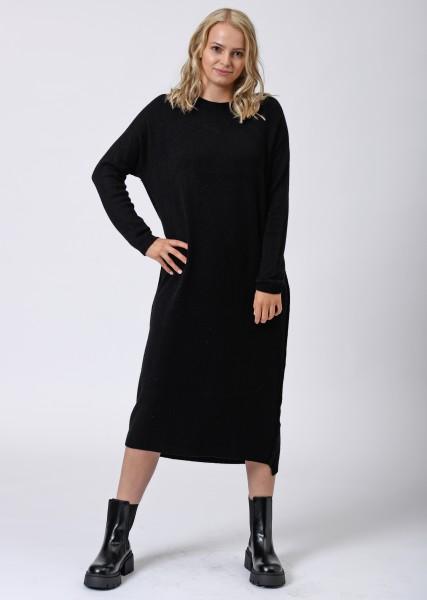langes Strickkleid in schwarz