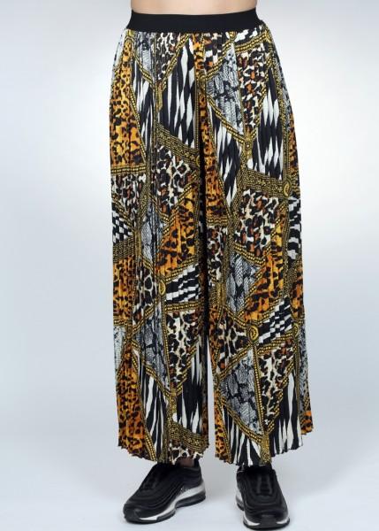 Bedruckter Hosenrock mit Plisseefalten mais - schwarz