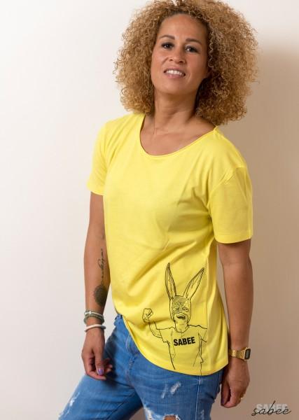 T Shirt mit Comikprint gelb