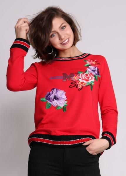 Sweatshirt rot mit Rosenstickerei