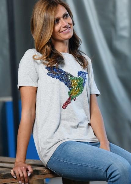 Shirt in greymelange mit Paillettenmotiv - 1/2 Arm