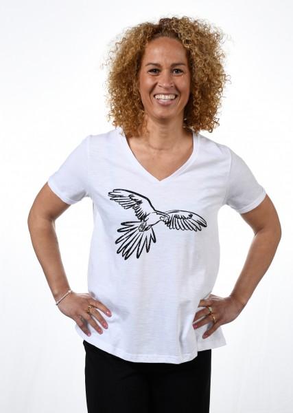T-Shirt, weiß in A-Linie mit Papageienmotiv