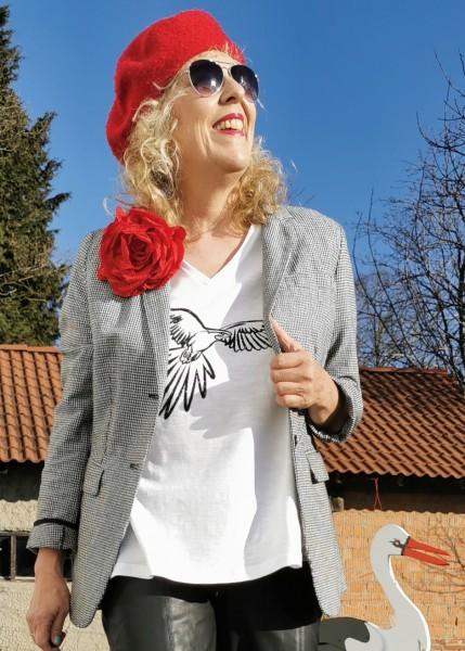 T-Shirt, weiß in A-Linie mit Papageiendruck