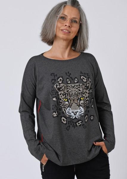 Longsleeve Shirt mit Motiv und Schmucksteinen