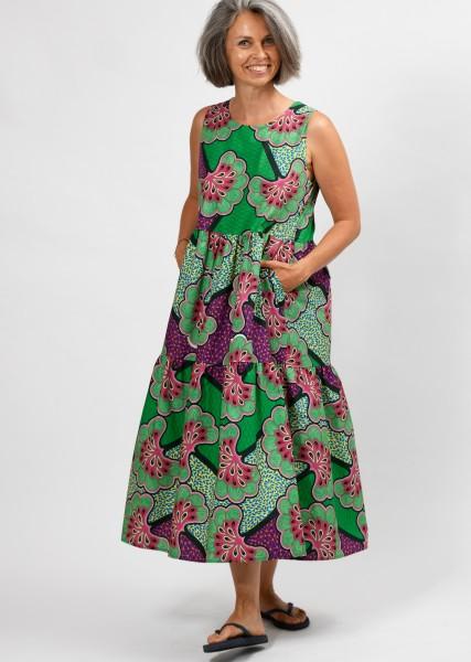 langes Kleid - mit farbenfrohem Print - ärmellos