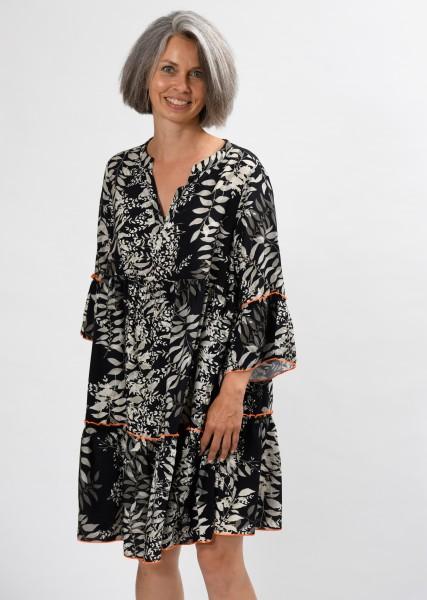 Tunika-Kleid schwarz/ecru
