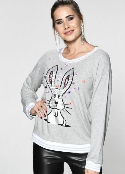 Sweatshirt mit aufwendigem Pailletten-Motiv in grey-melange