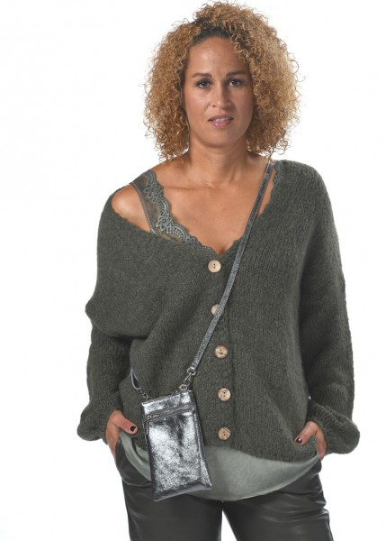 Cardigan - Strickjacke in military grün