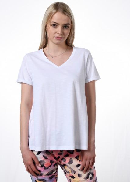 Leicht ausgestelltes T-Shirt in weiß