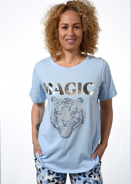 T-Shirt mit Strassmotiv - bleu