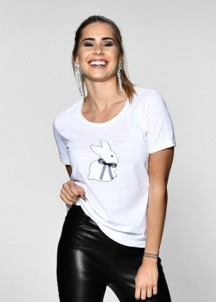 T-Shirt mit Hasenmotiv und Strass-weiss