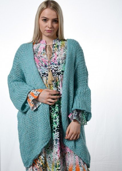 Leichte Grob-Strickjacke - oversized in aqua