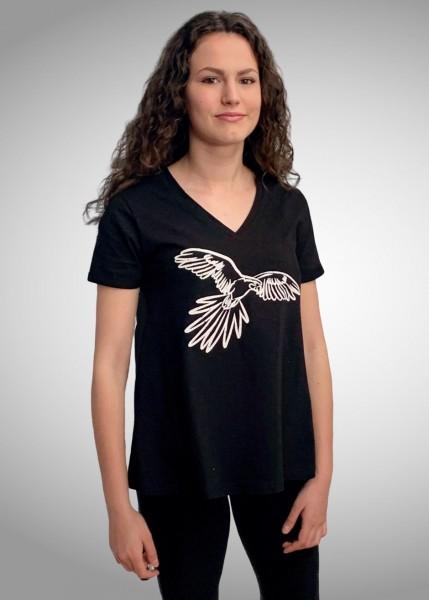 T-Shirt, schwarz in A-Linie mit Papageiendruck