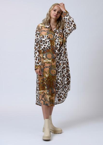 Maxi Hemdblusenkleid mit Patchworkprint