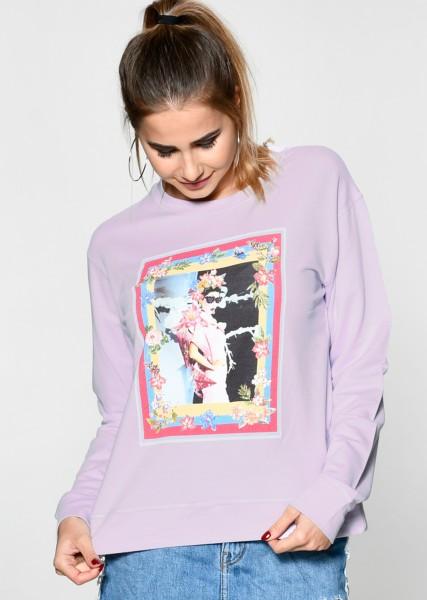 Softiges Sweatshirt mit Print in lavendel