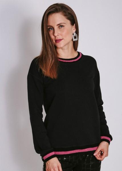 Sweatshirt schwarz mit Strickbund und Streifen in pink