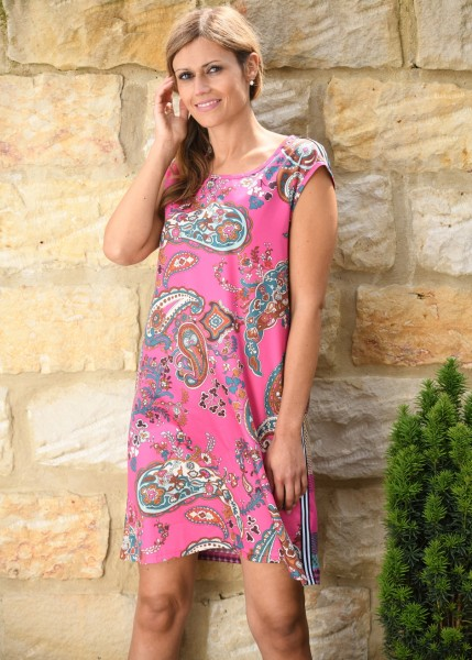 Baumwollsatin Kleid mit edlem Paisleydruck