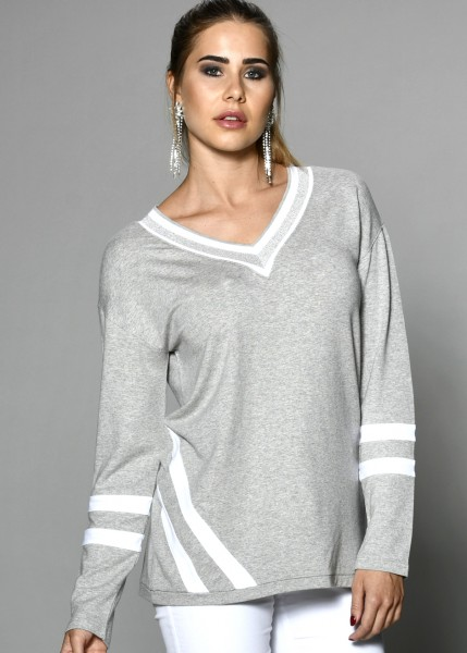 Sweatshirt in grey-melange mit Kontrast-Highlights