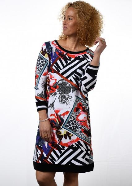 Sweatshirtkleid mit Patchworkprint