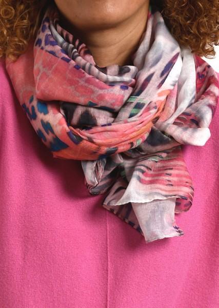 Schal mit Patchwork Print in Pinktönen
