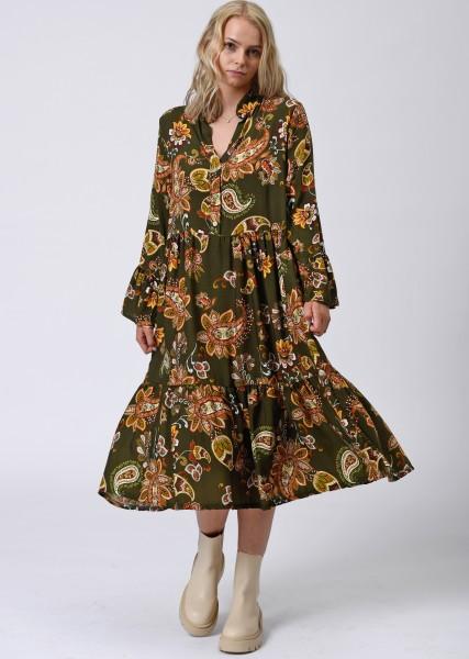 wadenlanges Kleid mit Paisleyprint oliv