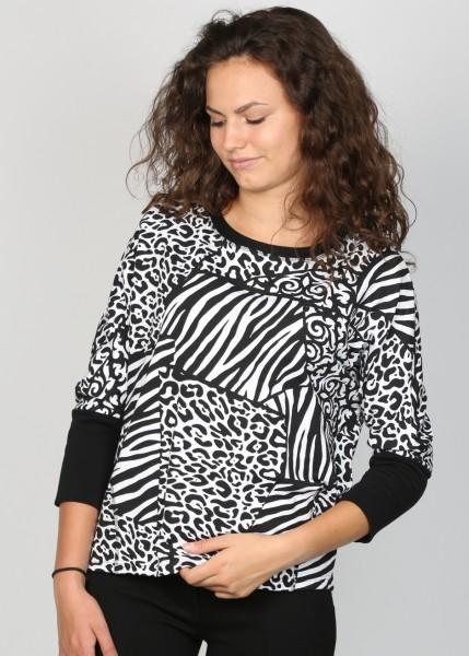 Sweatshirt schwarz -weiß Zebradruck