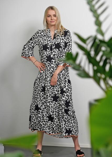 Maxi Kleid im Leodessin und Sternenmotiven - 3/4 Arm