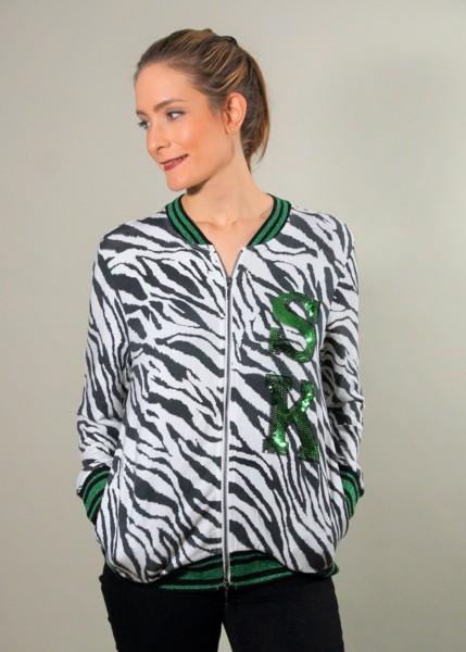 Sweat-Blouson mit Zebra Print