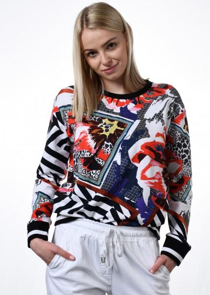 Sweatshirt mit Patchworkprint