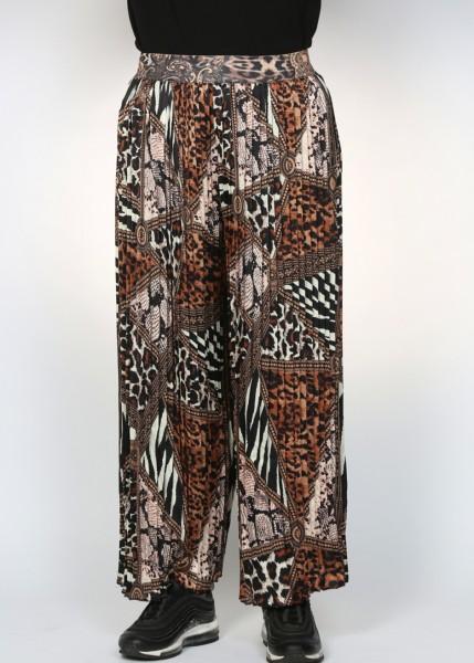 Bedruckter Hosenrock mit Plisseefalten nougat - schwarz