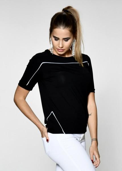 Sportives T-Shirt mit Kontrastpaspeln