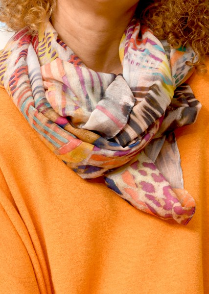 Schal mit Patchwork Print in Orangetönen