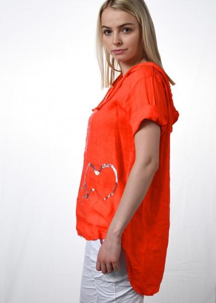 Bluse -1/2 Arm - orange - mit Kapuze