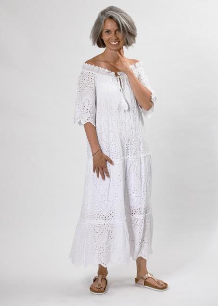 langes Kleid aus Lochspitze mit Carmenausschnitt - weiß