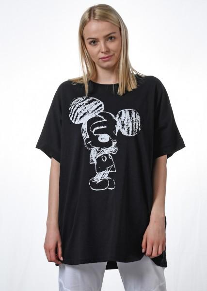 Tunika -Shirt- oversized - schwarz mit Motiv