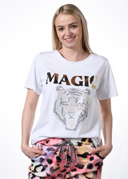 T-Shirt mit Strassmotiv - weiss