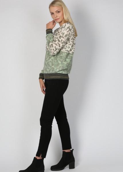 Strick-Pullover mit Leoprint