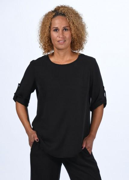 Bluse - schwarz- mit Krempelärmel