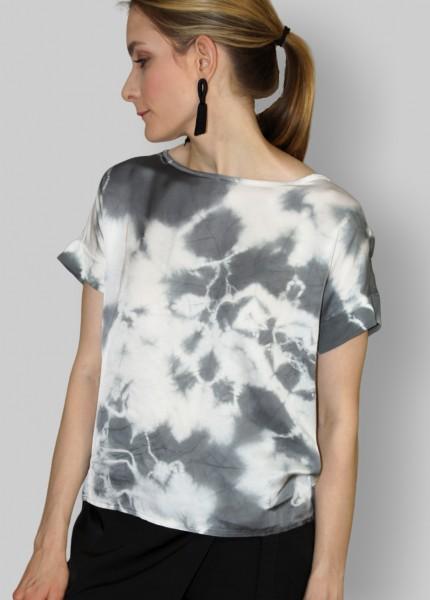 Batik T-Shirt in grau-weiss