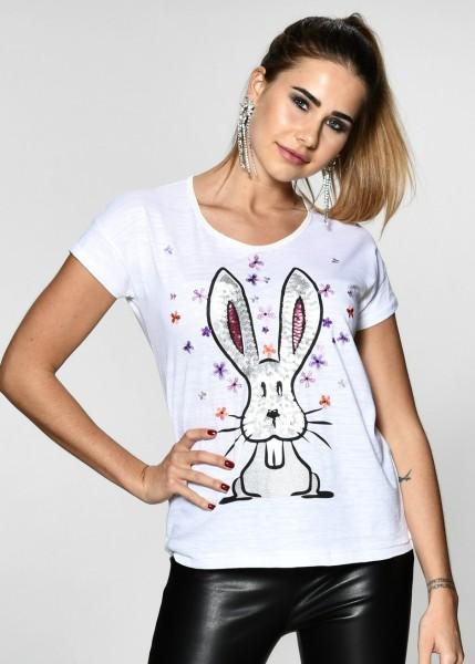 T-Shirt mit aufwendigem Hasenmotiv in weiß